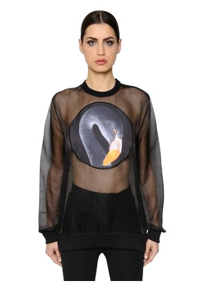 PRINTED SATIN PATCH ON ORGANZA TOP