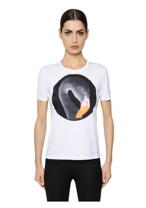 PRINTED SATIN PATCH ON JERSEY T-SHIRT