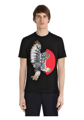 OWL PRINTED COTTON JERSEY T-SHIRT
