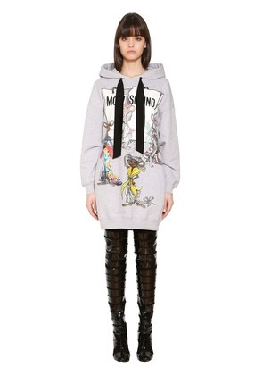 HOODED PRINTED COTTON SWEATSHIRT DRESS