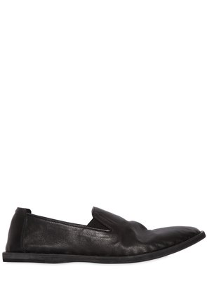 WASHED LEATHER SLIP-ON LOAFERS