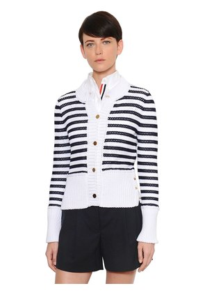 STRIPED COTTON MESH CARDIGAN