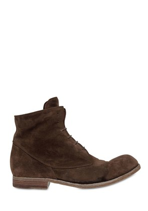 WASHED SUEDE LACE-UP BOOTS