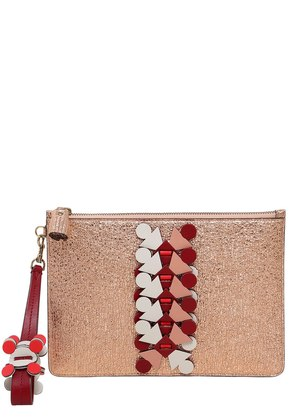 GLITTER ON LEATHER LARGE POUCH