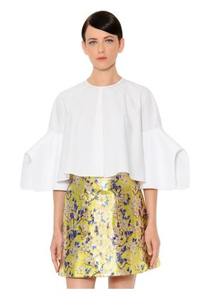FLARED & CROPPED COTTON POPLIN BLOUSE