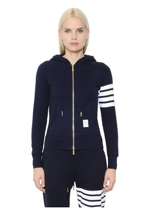INTARSIA STRIPE HOODED COTTON SWEATSHIRT