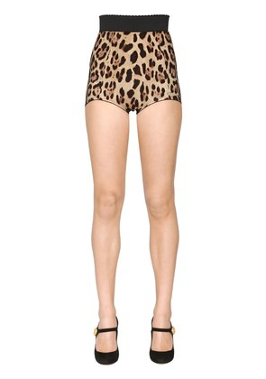 LEOPARD PRINTED STRETCH SILK CADY SHORTS