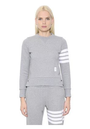 INTARSIA COTTON JERSEY SWEATSHIRT