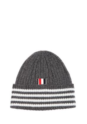 CASHMERE WIDE RIB KNIT BEANIE HAT