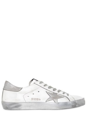SUPER STAR LEATHER & METALLIC SNEAKERS