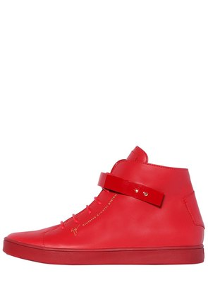 PATENT BANGLE BRUSHED LEATHER SNEAKERS