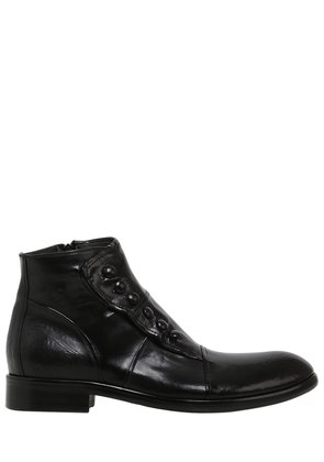 WASHED SMOOTH LEATHER ANKLE BOOTS