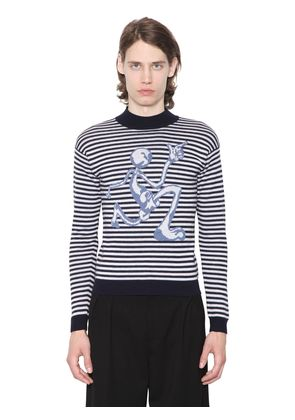 MERINO STRIPED SWEATER W/ MERCURY MAN