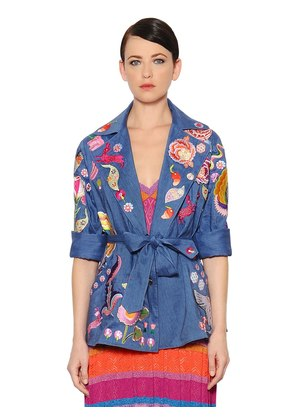 EMBROIDERED COOL WOOL & LINEN JACKET