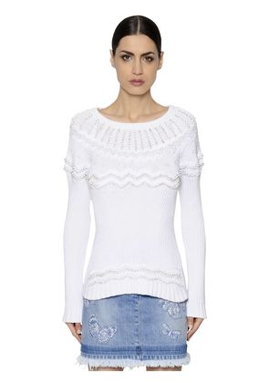 BEADED COTTON KNIT SWEATER