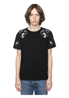 PANTHER PRINTED COTTON JERSEY T-SHIRT