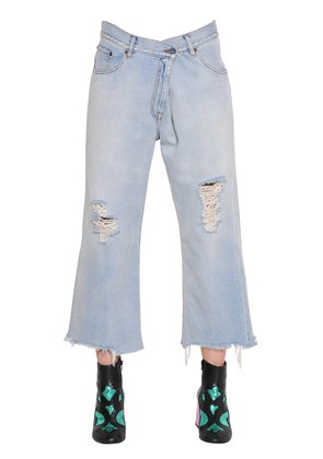 DESTROYED FOLD OVER COTTON DENIM JEANS