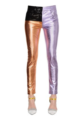 SKINNY PATCHWORK LEATHER PANTS
