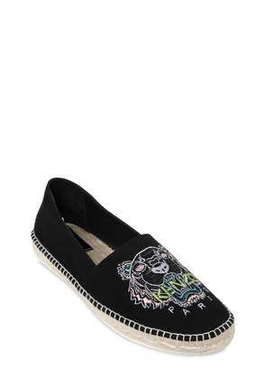 TIGER EMBROIDERED CANVAS ESPADRILLES