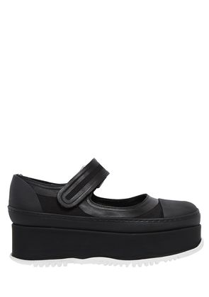50MM CANVAS & RUBBER MARY JANE WEDGES
