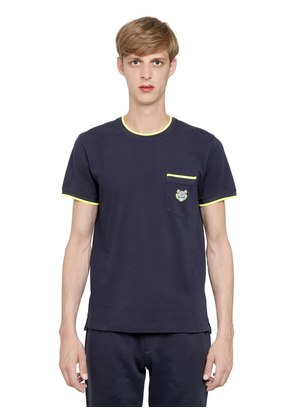 TIGER EMBROIDERED COTTON PIQUÉ T-SHIRT