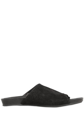 RAW LEATHER SLIDE SANDALS