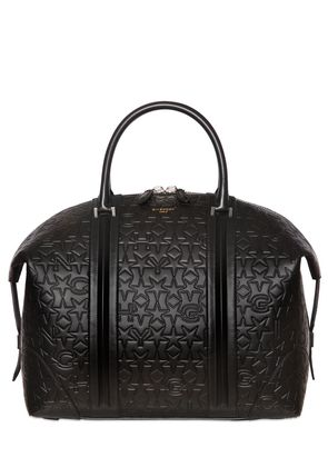 STAR & LOGO EMBOSSED LEATHER DUFFLE BAG