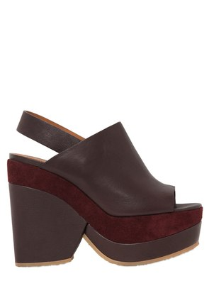90MM LEATHER & SUEDE WEDGES