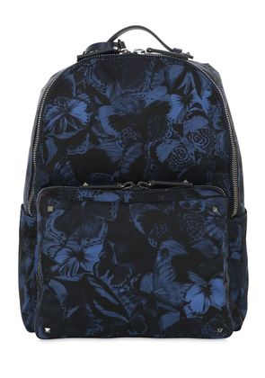 BUTTERFLY PRINTED NYLON BACKPACK