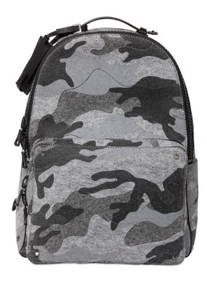 CAMOUFLAGE PRINTED COTTON FELT BACKPACK