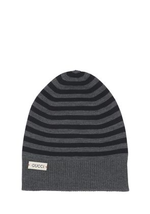 STRIPES WOOL KNIT BEANIE HAT