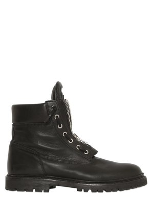 ZIP-UP LEATHER COMBAT BOOTS