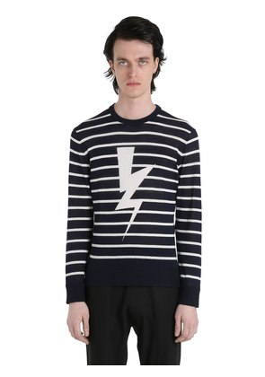 BOLTS STRIPED COTTON JACQUARD SWEATER
