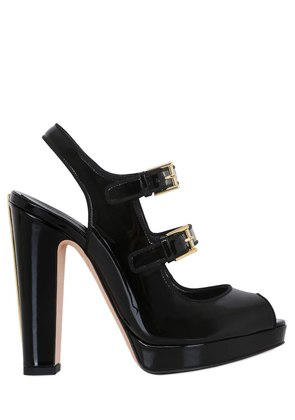 120MM PATENT LEATHER SANDALS