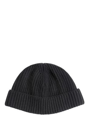 RIBBED WOOL KNIT BEANIE HAT