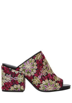 70MM EMBROIDERED SATIN & LEATHER MULES