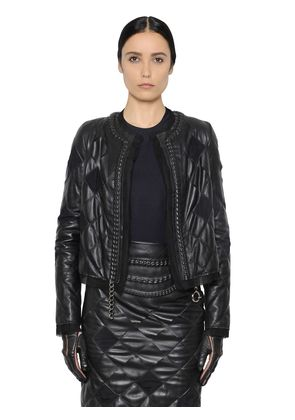 QUILTED NAPPA & ORGANZA JACKET W/ CHAIN