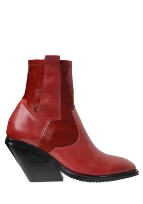 80MM PONYSKIN & LEATHER PULL ON BOOTS