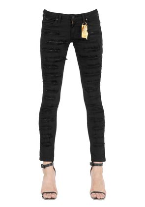 SKINNY STUDDED DESTROYED DENIM JEANS