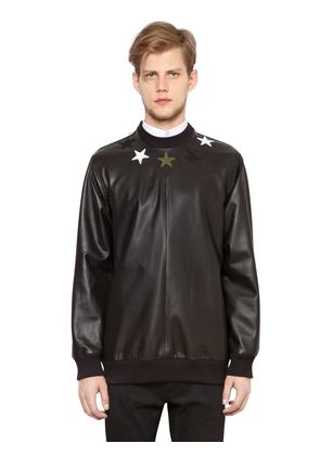 STARS LEATHER & NEOPRENE SWEATSHIRT