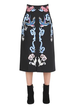 TATTOOS EMBROIDERED POPLIN MIDI SKIRT