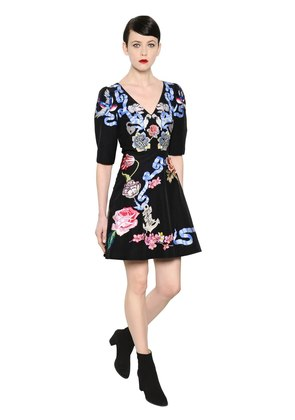 TATTOOS HAND-EMBROIDERED POPLIN DRESS