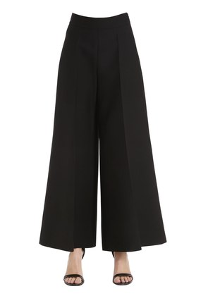 CROPPED WOOL & SILK CREPE COUTURE PANTS