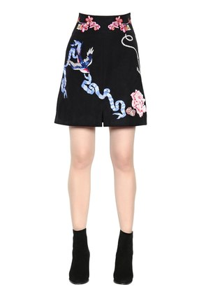TATTOOS HAND-EMBROIDERED POPLIN SKIRT