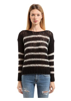 OVERSIZED STRIPED WOOL & MOHAIR SWEATER