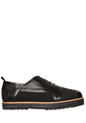 CANVAS & LEATHER LACE-UP SHOES
