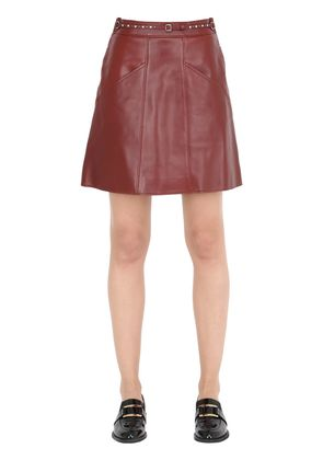 BELTED LEATHER SKIRT W/ QUILTING DETAILS