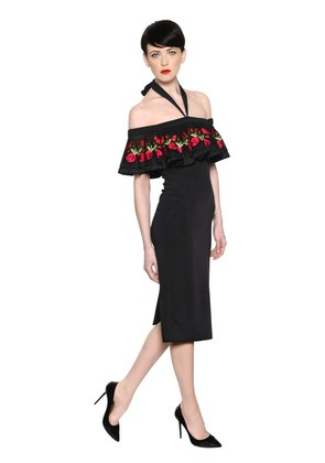 EMBROIDERED FITTED CREPE DRESS