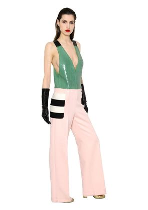 SEQUIN & FELTED WOOL JUMPSUIT