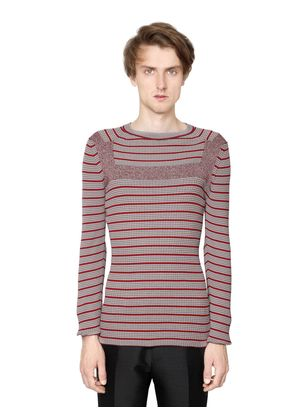 STRIPED COTTON BLEND RIBBED SWEATER